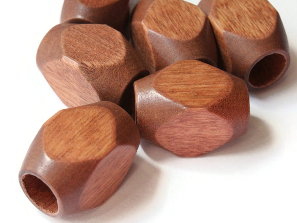 25mm Brown Large Hole Wood Beads Vintage Macrame Beads Wooden Beads Rectangle Beads Cube Beads Faceted Beads Jewelry Making