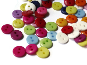 9mm Mixed Color Buttons Flat Round Plastic Two Hole Buttons Jewelry Making Beading Supplies Sewing Supplies