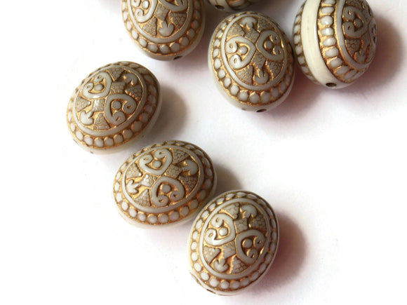 16mm White Plastic Oval Beads with Gold Trim Loose Beads to String Jewelry Making Beading Supplies White and Gold Acrylic Jewelry Beads