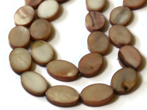 14mm Brown Mother of Pearl Oval Disc Beads Shell Coin Beads Jewelry Making Beading Supplies Seashell Beads Dyed Brown Beads Full Strand