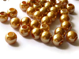 40 12mm Large Hole Orange Pearl Beads Round Plastic Pearl Beads