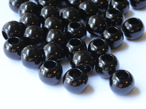 12mm Large Hole Pearls Black Pearls Faux Pearl Beads European Beads Round Pearl Beads Plastic Pearl Beads Acrylic Beads Black Beads