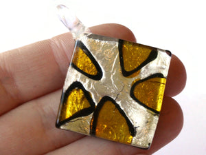 2 and 1/8 Inch Silver and Gold Foil Glass Pendant Lampwork Glass Square Diamond Pendant Jewelry Making Beading Supplies
