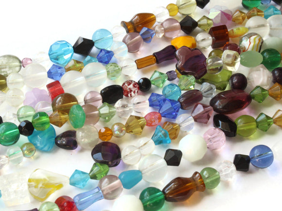 8 Inch Strand of Mixed Glass Beads to String Jewelry Making Beading Supplies Multi-Color Beads Mixed Shape Beads