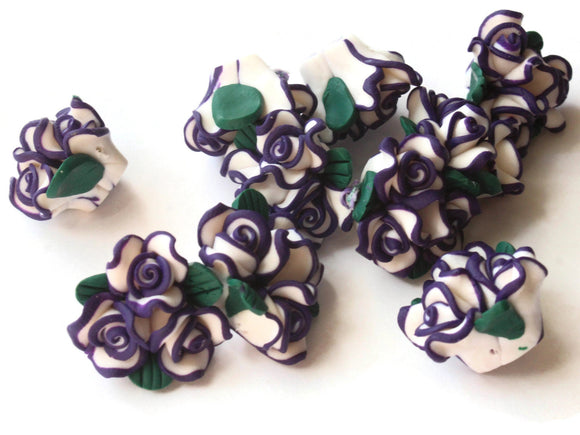 Purple Polymer Clay Flower Beads Jewelry Making Beading Supplies Loose Beads to String Floral Bead Bouquets