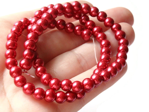 6mm Ruby Red Glass Pearl Beads Faux Pearls Jewelry Making Beading Supplies Round Accent Beads Ball Beads Small Spacer Beads