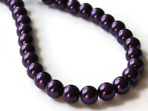 6mm Purple Glass Pearl Beads Faux Pearls Jewelry Making Beading Supplies Round Accent Beads Ball Beads Small Spacer Beads