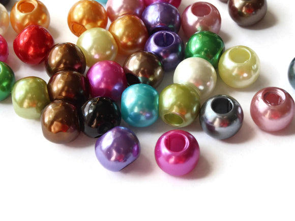 12mm Large Hole Pearls Mixed Color Pearls Faux Pearl Beads European Beads Round Pearl Beads Plastic Pearl Beads Acrylic Beads Rainbow