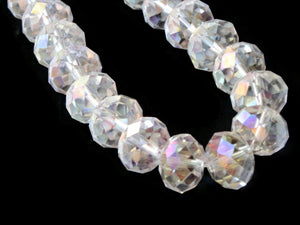 12mm x 9mm Clear Rondelle Beads Crystal Glass Abacus Beads Jewelry Making Beading Supplies Loose Beads Faceted Rondelle Beads