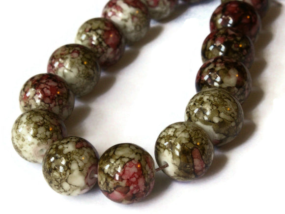 12mm Brown and Red Splatter Paint Beads Smooth Round Beads Glass Beads Jewelry Making Beading Supplies Loose Beads to String