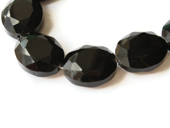 24mm Black Crystal Oval Beads Crystal Glass Beads Large Beads Faceted Flat Ovals Jewelry Making Beading Supplies