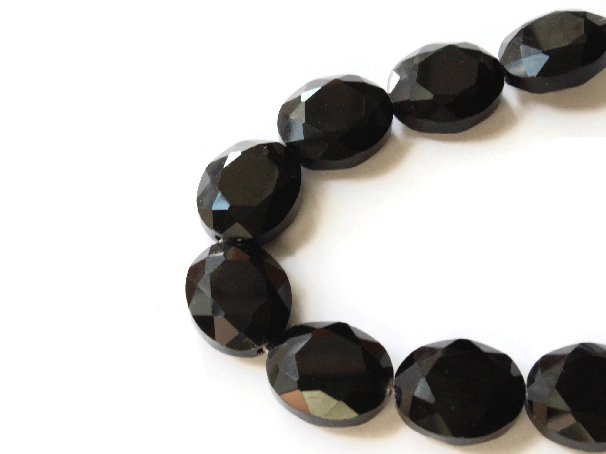 48pcs TS56-8 Oval Crystal Glass Faceted beads 16mm Sparkly Black Rose-