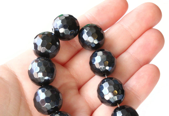 15mm Round Crystal Beads Dark Gray Beads Crystal Glass Beads Full Strand Beading Supplies Jewelry Making Faceted Round Beads