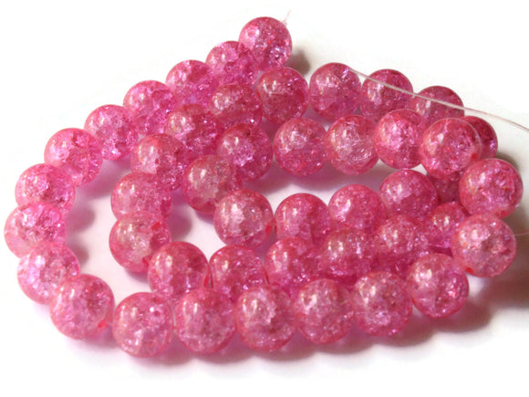10mm Bubblegum Pink Crackle Glass Round Beads Ball Beads Sphere Beads Jewelry Making Beading Supplies Loose Beads Full Strand Smileyboy