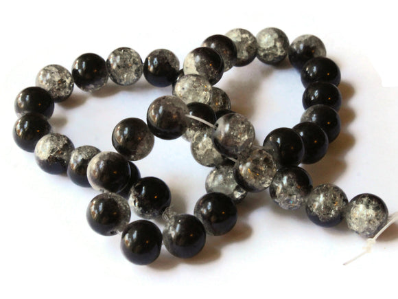 10mm Round Beads Black and Gray Glass Beads Crackle Glass Beads Smooth Round Beads Cracked Glass Beads Jewelry Making Beading Supplies