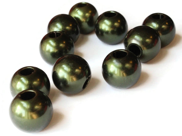 10 20mm Large Hole Pearls Forest Green Pearl Beads European Beads Plastic Pearl Beads Round Pearl Beads Plastic Beads Acrylic Beads