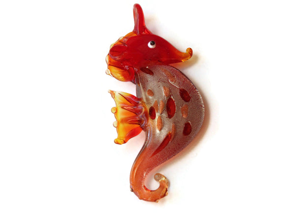 69mm Red Seahorse Glass Pendant Foil Glass Pendants Jewelry Making Beading Supplies