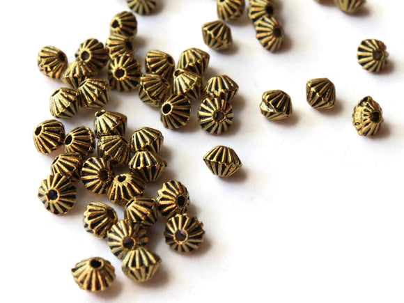 50 4mm Antique Golden Bicone Beads Fluted Beads Ridged Beads Jewelry Making Beading Supplies Loose Beads Lead Free Spacer Beads