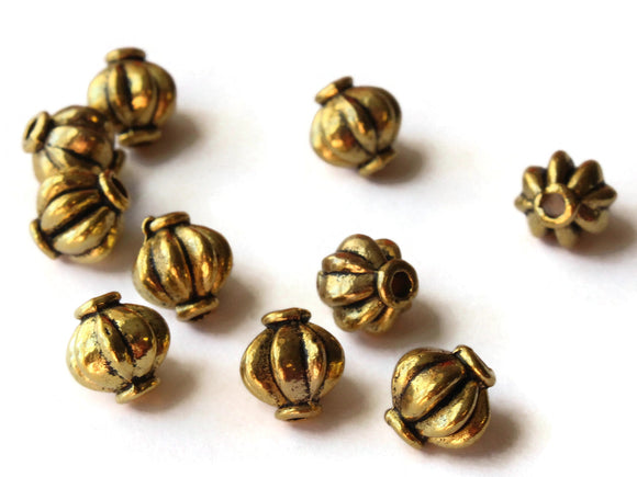 10 8mm Antique Golden Round Beads with Rim Fluted Beads Ridged Beads Jewelry Making Beading Supplies Loose Beads Lead Free Spacer Beads