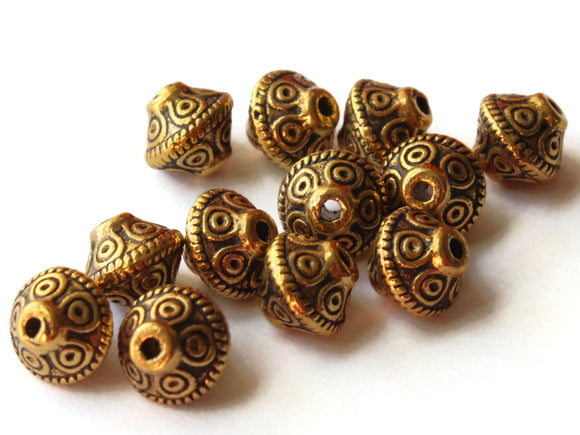12 6.5mm Antique Golden Patterned Bicone Beads Polka Dot Beads Jewelry Making Beading Supplies Loose Beads Lead Free Spacer Beads