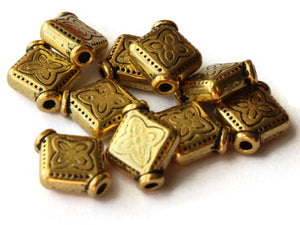 10 10mm Antique Golden Patterned Diamond Beads with Rim Beads Jewelry Making Beading Supplies Loose Beads Lead Free Spacer Beads
