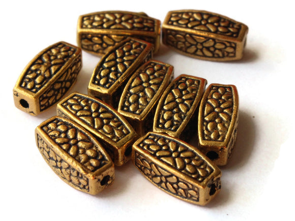 10 12mm Antique Golden Patterned Rectangle Beads Jewelry Making Beading Supplies Loose Beads Lead Free Spacer Beads