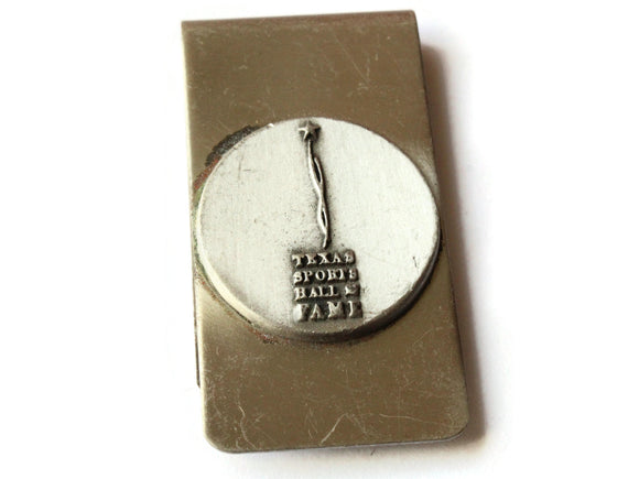 Vintage Silver Money Clip with Texas Sports Hall of Fame Logo