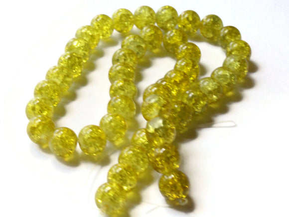 10mm Round Beads Yellow Glass Beads Crackle Glass Beads Smooth Round Beads Full Strand Cracked Glass Beads Jewelry Making Beading Supplies