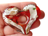 50mm Red Heart Foil Glass Pendant Jewelry Making Beading Supplies Purple Pendant with Silver Green and Gold