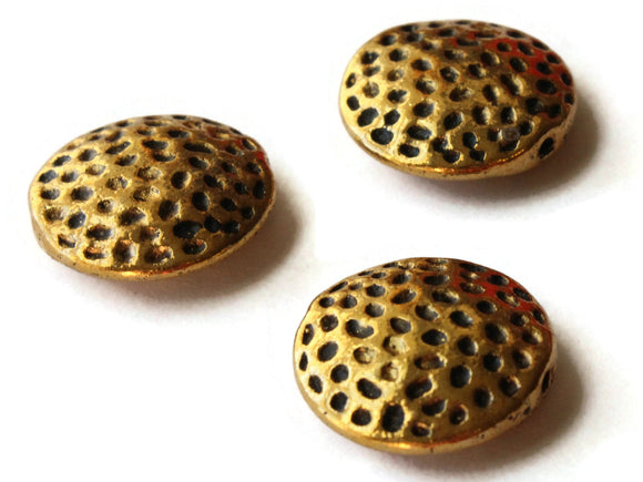 3 16mm Antique Golden Spotted Coin Beads Polka Dot Beads Jewelry Making Beading Supplies Loose Beads Lead Free Spacer Beads
