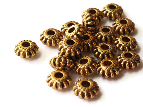 20 7.5mm Antique Golden Fluted Rondelle Beads Jewelry Making Beading Supplies Loose Beads Lead Free Spacer Beads