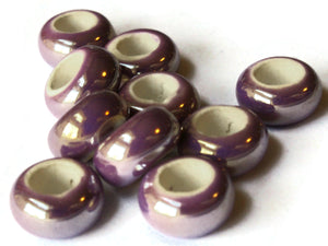 10 13mm Orchid Purple Porcelain Rondelle Beads Large Hole Glass Beads Jewelry Making Beading Supplies Loose Ceramic Beads High Luster Beads