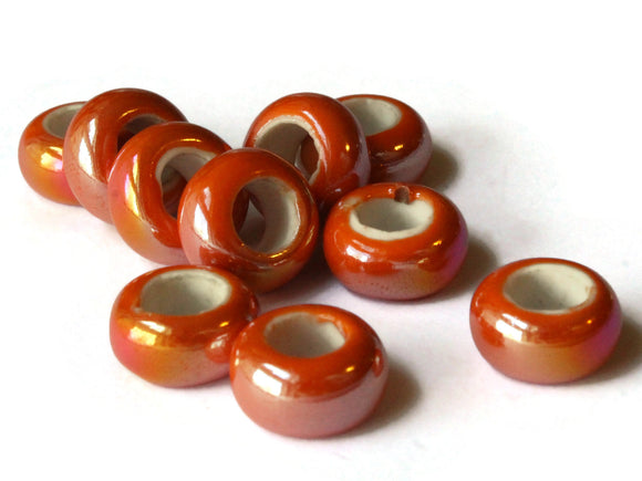 10 13mm Orange Porcelain Rondelle Beads Large Hole Glass Beads Jewelry Making Beading Supplies Loose Ceramic Beads High Luster Beads