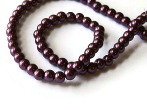 75 6mm Maroon Purple Glass Pearl Beads Faux Pearls Jewelry Making Beading Supplies Round Accent Beads Ball Beads Small Spacer Beads
