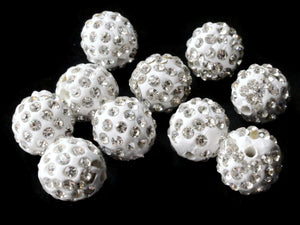 12mm White Rhinestone Beads Round Polymer Clay Sparkle Beads Shamballa Beads Pave Gumball Beads Jewelry Making and Beading Supplies