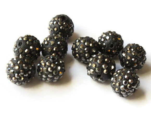 12mm Hematite Black Rhinestone Beads Round Polymer Clay Sparkle Beads Shamballa Beads Pave Beads Jewelry Making and Beading Supplies