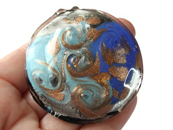 Two Tone Blue Foil Glass Pendant Round Pendant Jewelry Making Beading Supplies