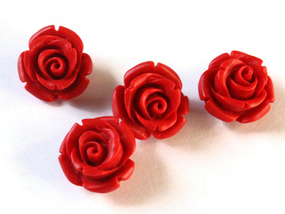 4 13mm Cinnabar Rose Beads Flower Beads Cinnabar Beads Lacquer Beads Loose Beads Red Beads Patterned Beads Jewelry Making Beading Supplies