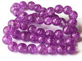 Purple Crackle Glass Beads 8mm Round Beads Jewelry Making Beading Supplies Full Strand Loose Beads Cracked Glass Beads Smooth Round Beads