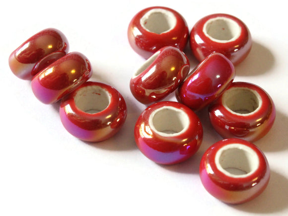 10 13mm Red Porcelain Rondelle Beads Large Hole Glass Beads Jewelry Making Beading Supplies Loose Ceramic Beads High Luster Beads
