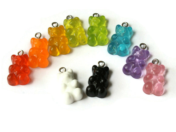 5 20mm Mixed Color Gummy Bear Charms Resin Pendants with Platinum Colored Loops Jewelry Making Beading Supplies Loose Candy Charms