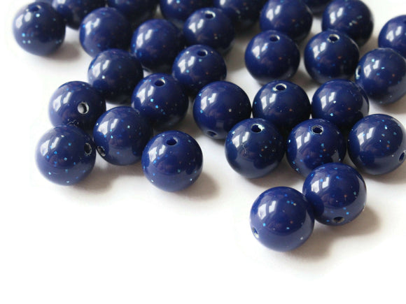40 10mm Round Blue Beads with Glitter Vintage Lucite Beads Ball Beads New Old Stock Beads Crafting Supplies Beads to string