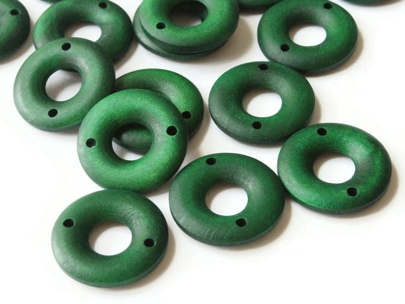 20 20mm Green Beads Round Donut Beads Wood Beads Ring Beads Jewelry Making Beading Supplies Loose Beads