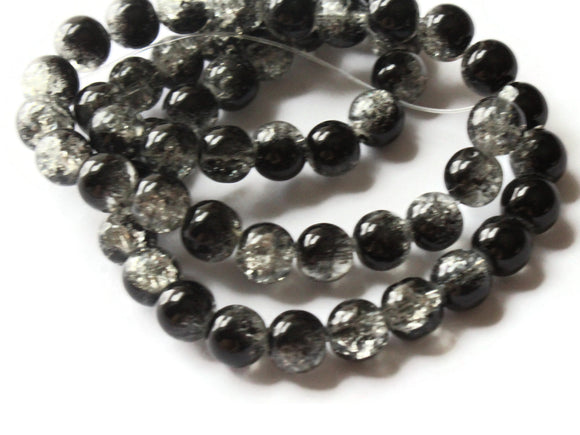 Black and White Crackle Glass Beads 8mm Round Beads Jewelry Making Beading Supplies Loose Beads Cracked Glass Beads Smooth Round Beads