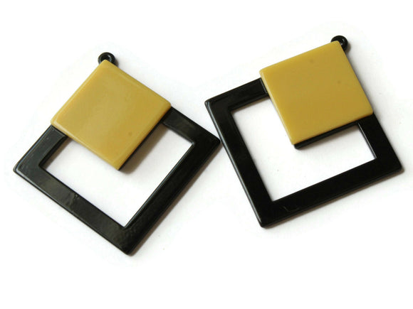 2 51mm Yellow and Black Double Square Pendants Resin Pendants, Resin Charms Jewelry Making Beading Supplies Focal Beads Drop Beads