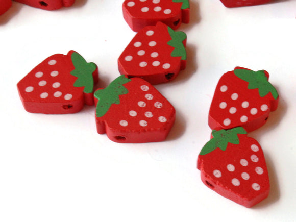 20 18mm Strawberry Beads Red Fruit Beads Berry Beads Food Beads Polymer Clay Beads Cane Slice Bead Jewelry Making Smileyboy Beading Supplies