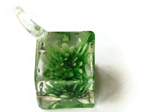22mm Green Flower Lampwork Glass Pendant Square Cube Pendant Jewelry Making Beading Supplies SmileyBoy