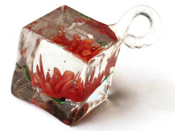 22mm Red Flower Lampwork Glass Pendant Square Cube Pendant Jewelry Making Beading Supplies SmileyBoy