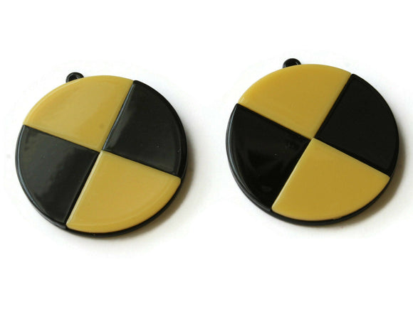 2 40mm Yellow and Black Flat Round Pendants Resin Pendants, Resin Charms Jewelry Making Beading Supplies Focal Beads Drop Beads
