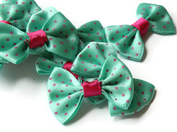 10 35mm Turquoise Green and Pink Polka Dot Bows Loose Bow Embellishments For Jewelry Making or Barrette Making or General Crafting Purposes